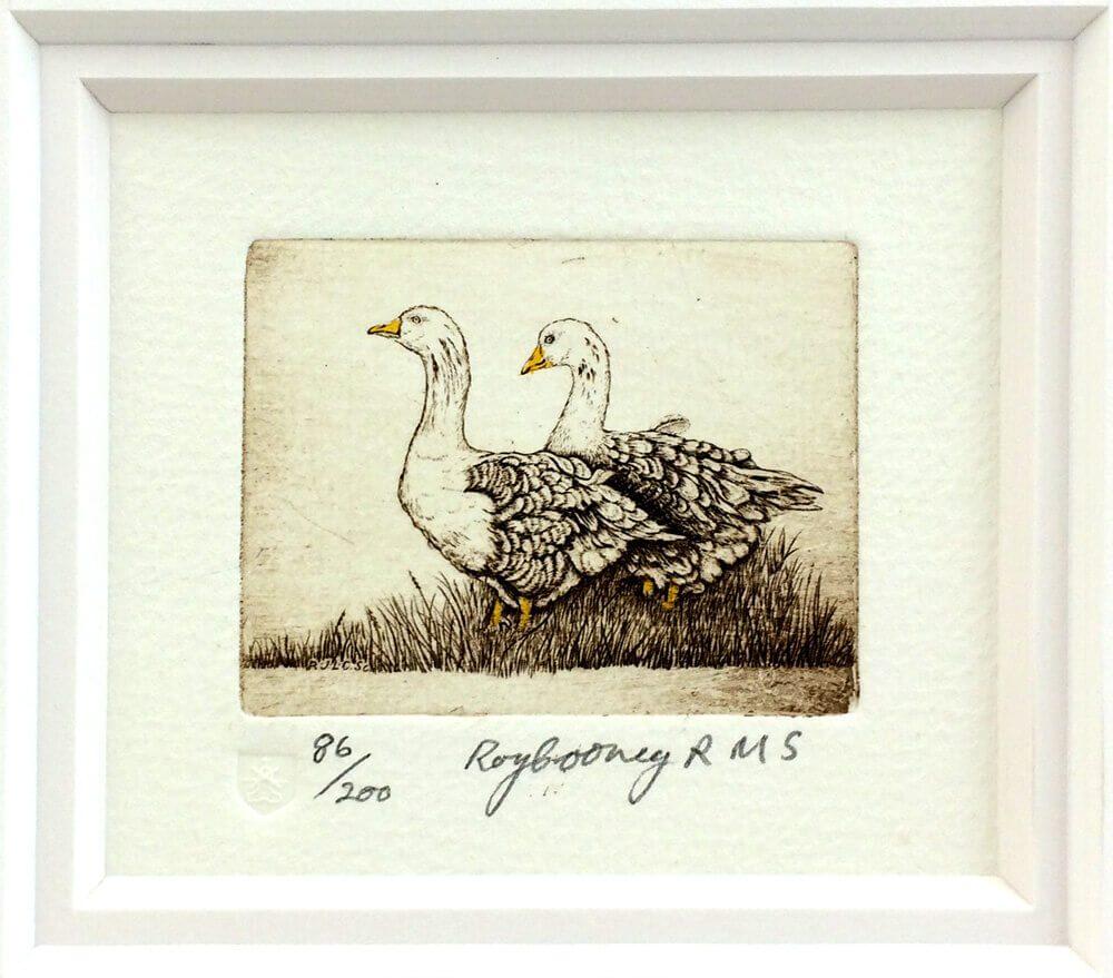 Etching Geese II _Framed
