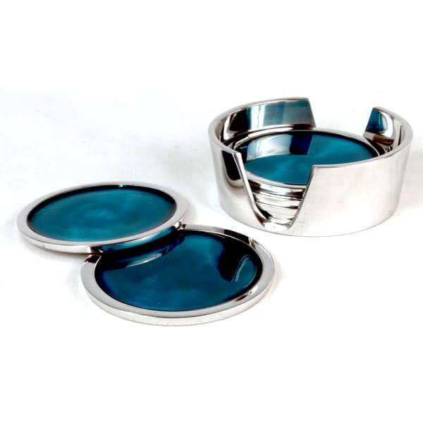 Aluminium Coaster Set Blue