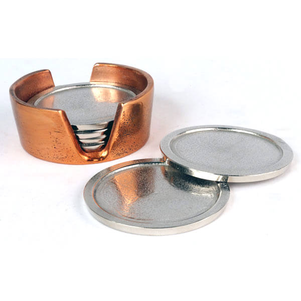 Aluminium Coaster Set Nickel