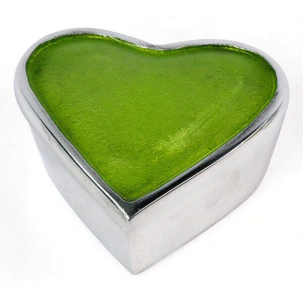 Aluminium Heart Box-Green