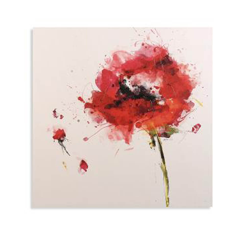 Rosso Burst Canvas l Floral Art