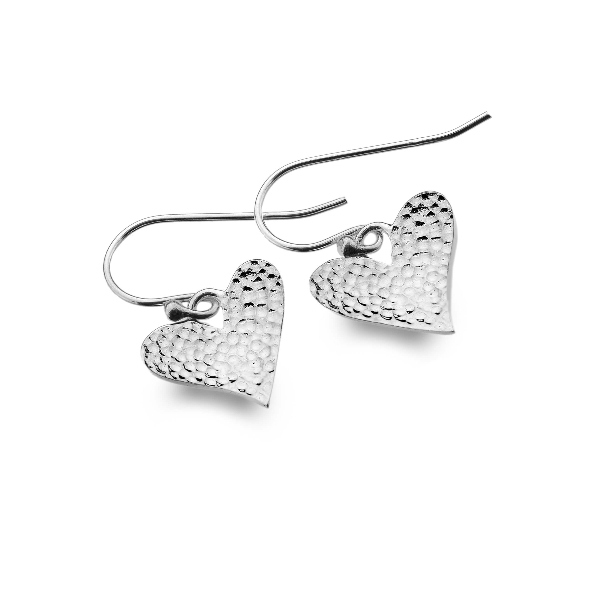 Hammered Love Heart Earrings