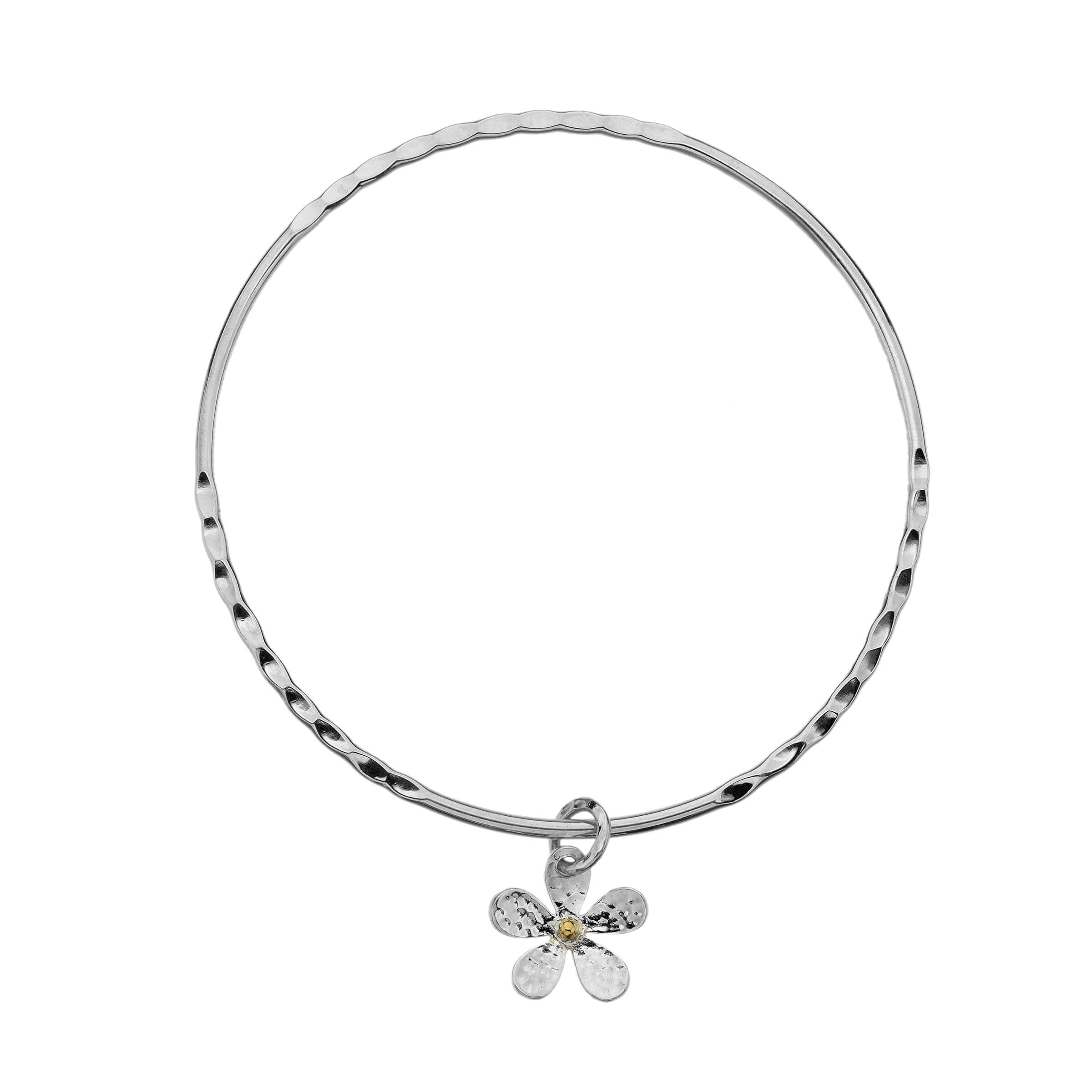 Silver Daisy Charm Bangle