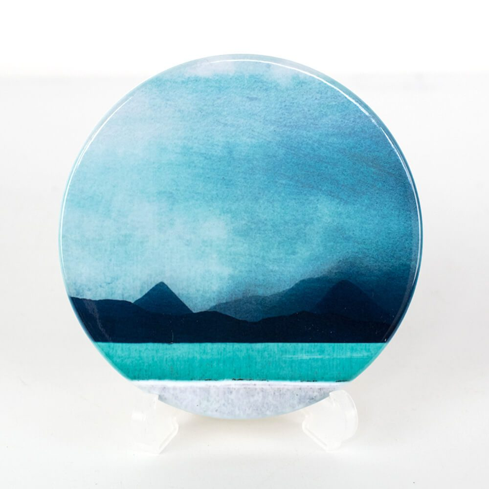 Red and Black Cuillin coaster by cath waters