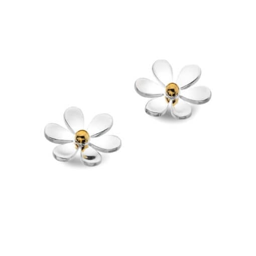 Silver and Brass Daisy Studs