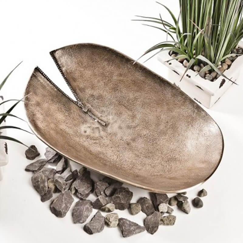 Gold Oblong Zip Bowl