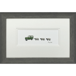 Land Rover & 3 Grey Sheep by Penny Lindop