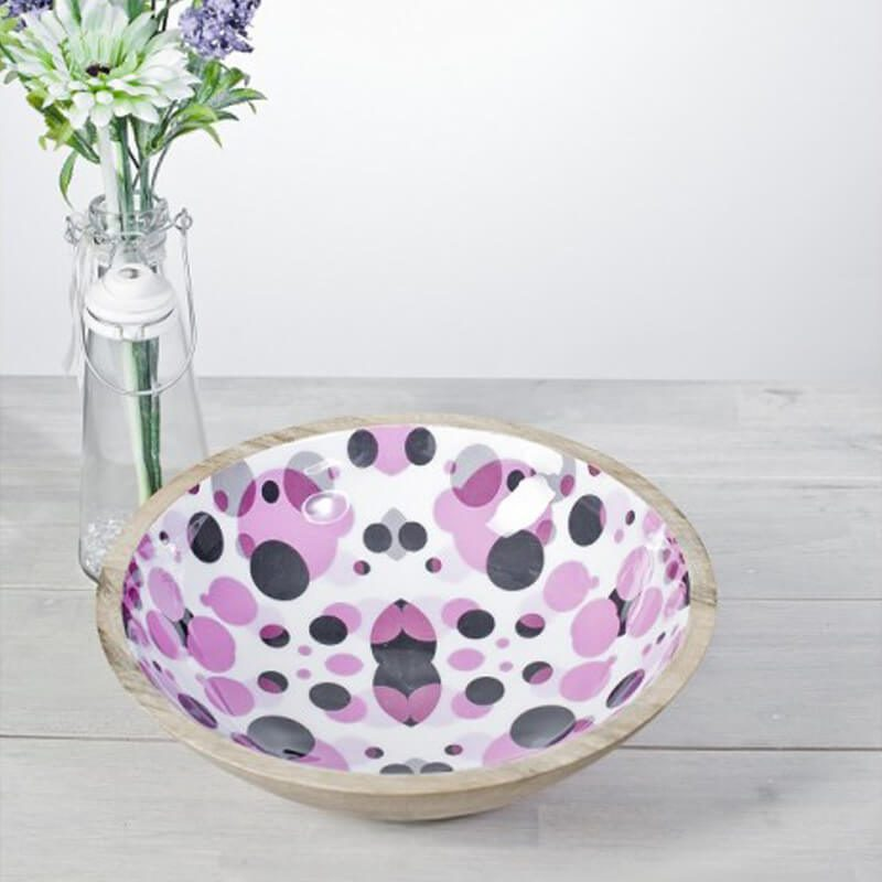 Pink Dots Enamelled Bowl 30cm