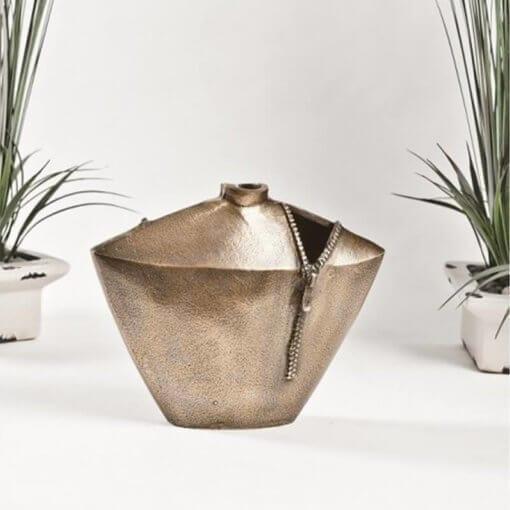 Gold Jacket Zip Vase