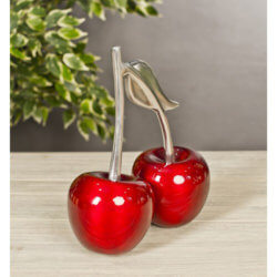 Red Double Cherry Silver Stalk