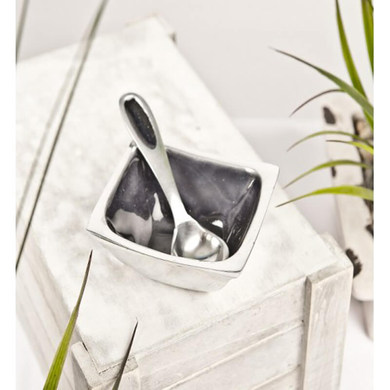 Grey Glitter Square Bowl with Spoon