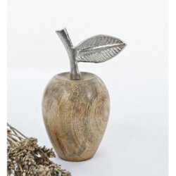Large Wooden Apple with Metal Stalk