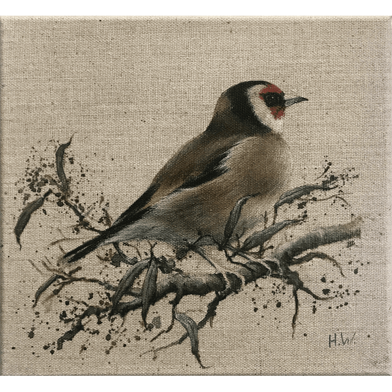 Goldfinch Acrylic on linen by Helen Welsh