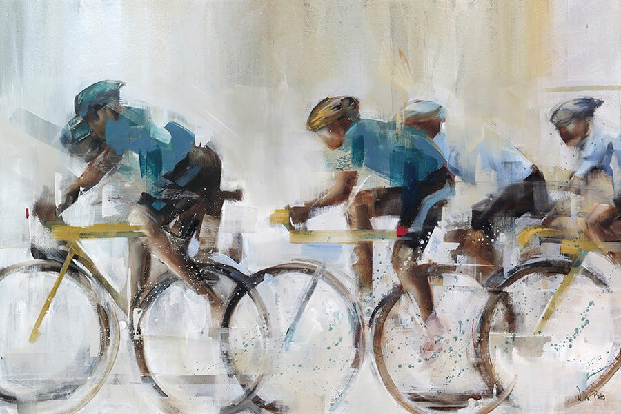 In motion cyclists