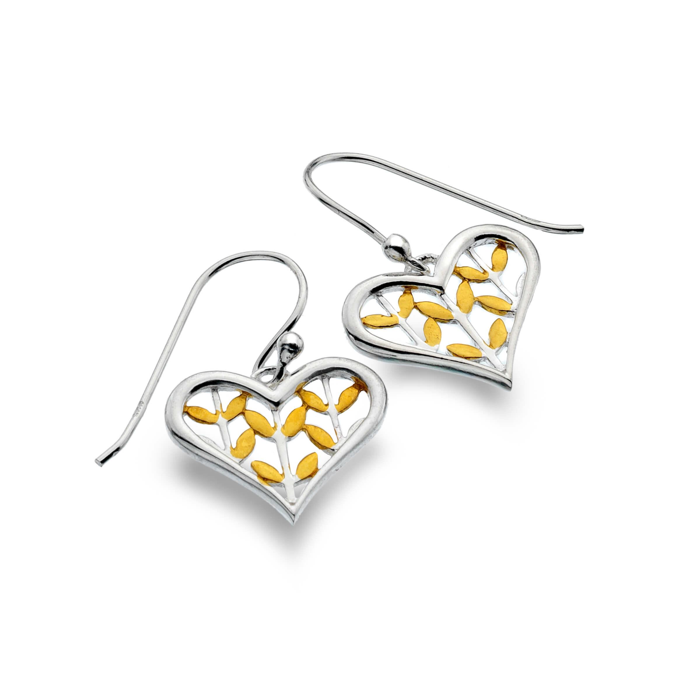 Heart Earrings with Brass Leaves