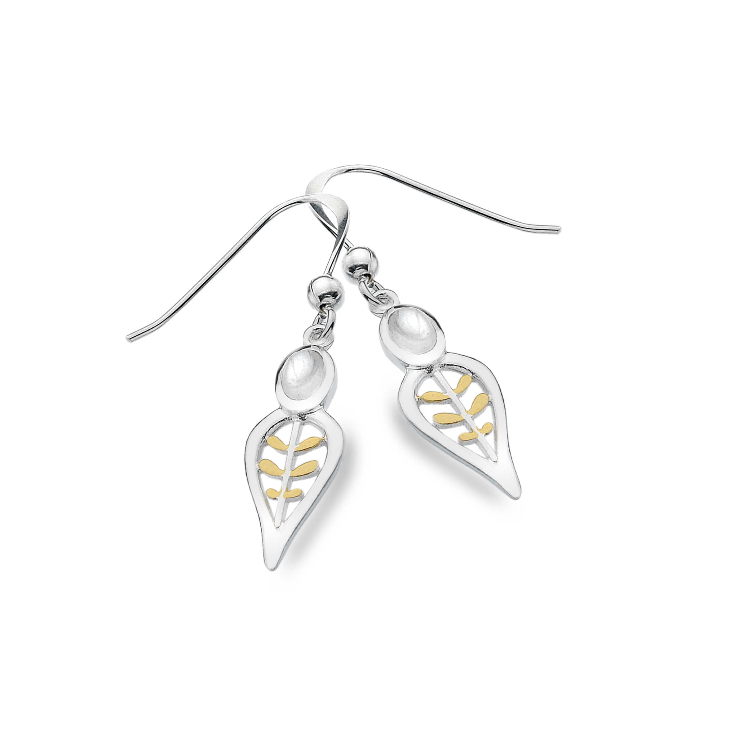 Leave Shaped Earrings with Moonstones