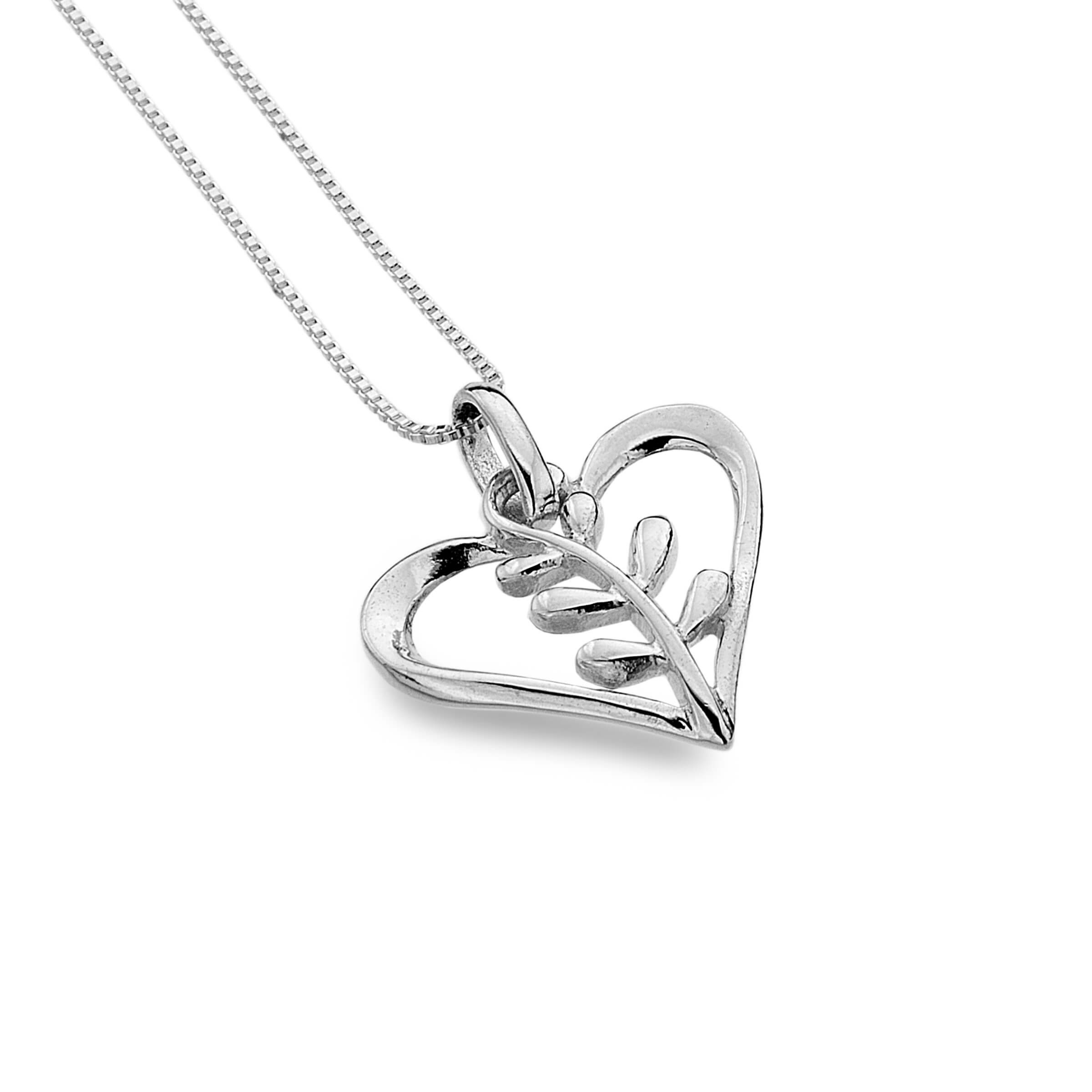 Heart Necklace with Twisted Leaves