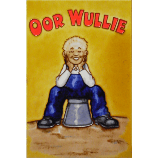 or Wullie hand painted tile