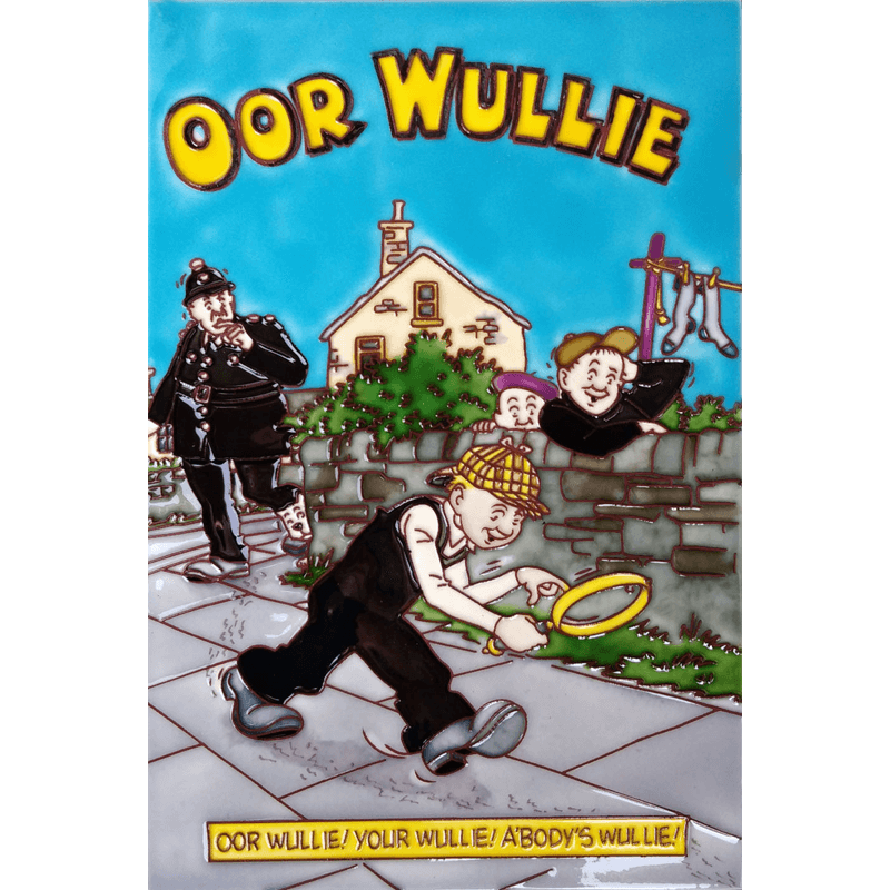 Oor Wullie Detective Hand Painted Tile