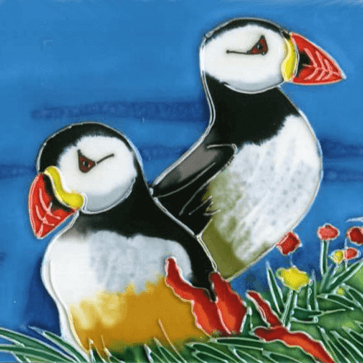 Puffins Hand Painted Decorative Tile