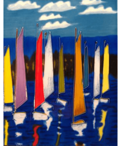 Sails Hand Painted Decorative Tile