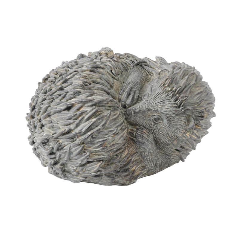 Libra verdigris curled hedgehog sculpture