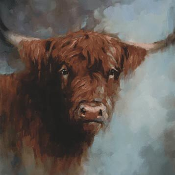 highland cow painting in detail