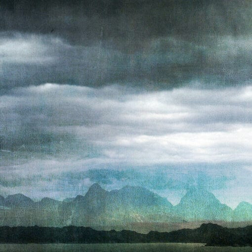 rainstorm and the mountain range